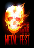 Metal fest design template with skull in flames.