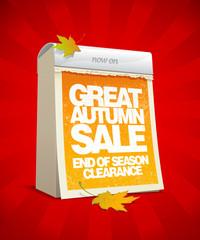 Autumn sale design in form of loose-leaf calendar.