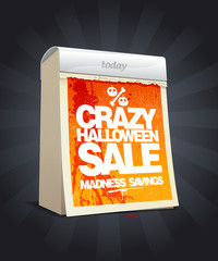 Crazy halloween sale design in form of calendar.