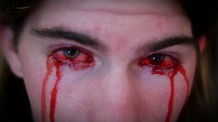Bleeding from both eyes horror clip