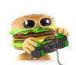 Burger plays a videogame