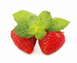 Fresh strawberry, mint sheets isolated on white background