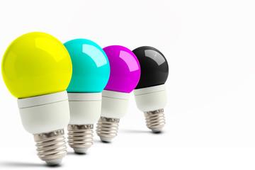 Lampade in coda con i colori CMYK