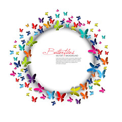 Greeting card - Paper Butterflies and circle - place for text -