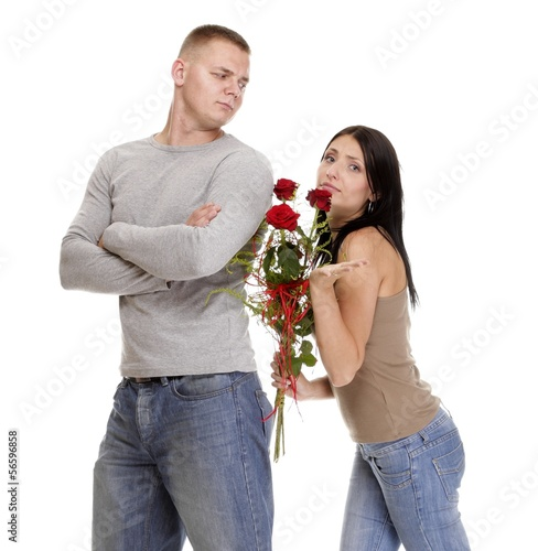 relationship difficulties young couple in conflict isolated