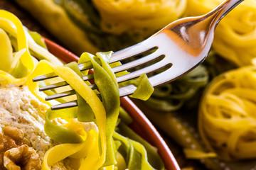 """homemade  italian pasta called """"Tagliatelle paglia e fieno"""""""