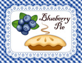 Blueberry Pie, Eyelet Lace Doily Mat, gingham check background