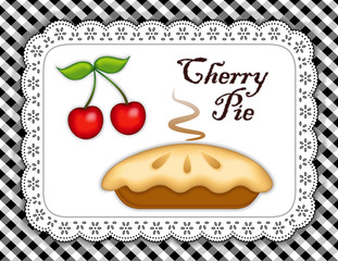 Cherry Pie, Eyelet Lace Doily Mat, gingham check background