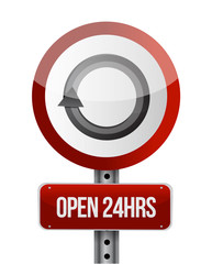 open 24 hours road sign illustration design