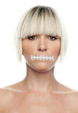 woman with gagged mouth