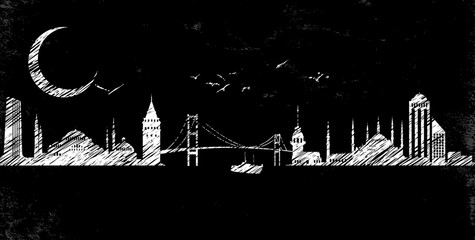 Istanbul Silhoutte Line Drawing