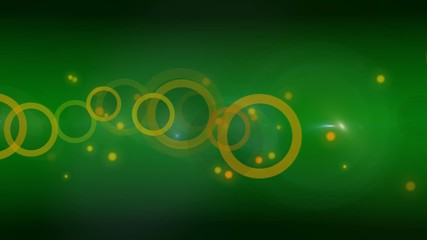 Orange circles and dots Green abstract background