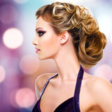Fototapety Profile portrait of  woman with fashion  hairstyle