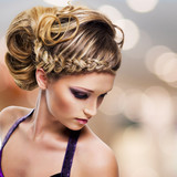 Fototapety portrait of beautiful woman with  hairstyle