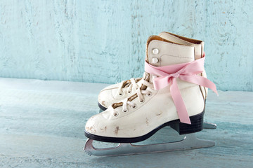 Pair of white women's ice skates