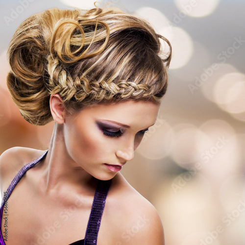 portrait of beautiful woman with  hairstyle