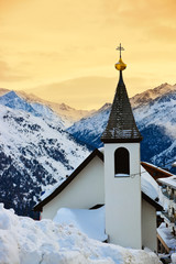 Church at mountains ski resort Solden Austria