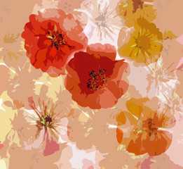 Abstract grunge background with  stylized applique zinnia