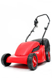 new red lawnmower on white background