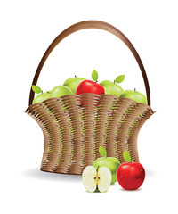 Basket of red and green apples