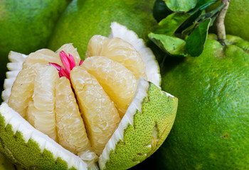 Flesh of a pomelo in the market, Thailand