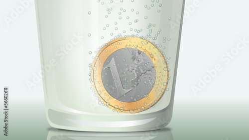 Fizzy Euro coin (close up)