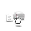 car, online, dollar, cursor, check,