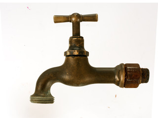 Old brass tap, faucet, isolated over white