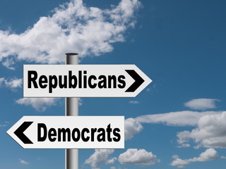 Democrats, republicans - USA political concept, metaphor
