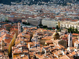 Nice, France - old and new town meet, birds eye view including c