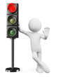 3D white people. Red traffic light