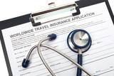 Travel insurance application with stethoscope