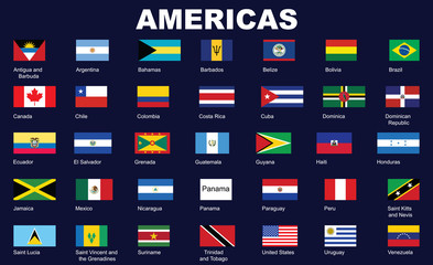 set of flags of Americas vector illustration