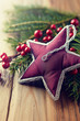 Vintage christmas star on natural spruce twigs