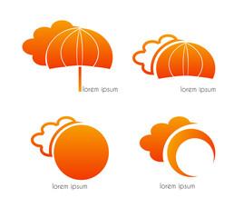 Graphic design - clouds, umbrella and sun, orange