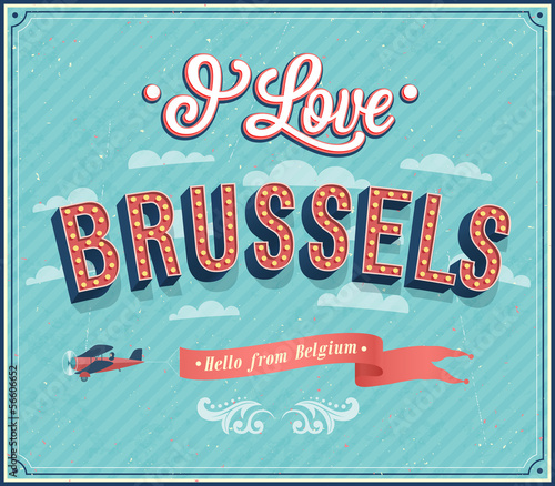 Vintage greeting card from Brussels - Belgium.