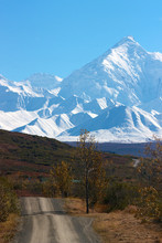 Alaska Range and hilly road in Denali NP