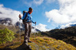 Hiker on the trek in Himalayas, Khumbu valley, Nepal
