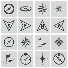 Vector black compass icons set