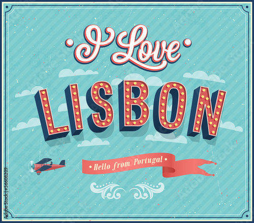Vintage greeting card from Lisbon - Portugal.