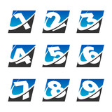 Swoosh Sport Number Icons Set