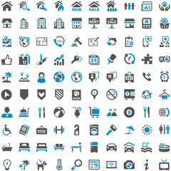 Blue Grey Webicons - Real Estate Buildings Travel Holiday