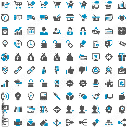 Blue Grey Webicons - Work Business Internet Work
