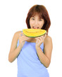 Isolated Young Asian woman with watermelon