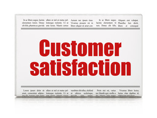 Marketing news concept: newspaper headline Customer Satisfaction