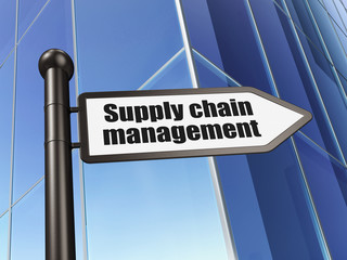 Marketing concept: Supply Chain Management on Building backgroun