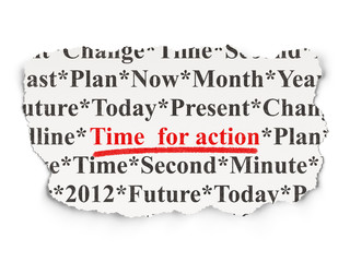 Timeline concept: Time for Action on Paper background