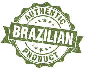 Brazilian product green grunge isolated stamp