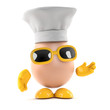 Egg wears a chefs hat