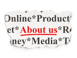 Advertising concept: About Us on Paper background